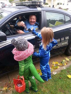 Police handing out candy